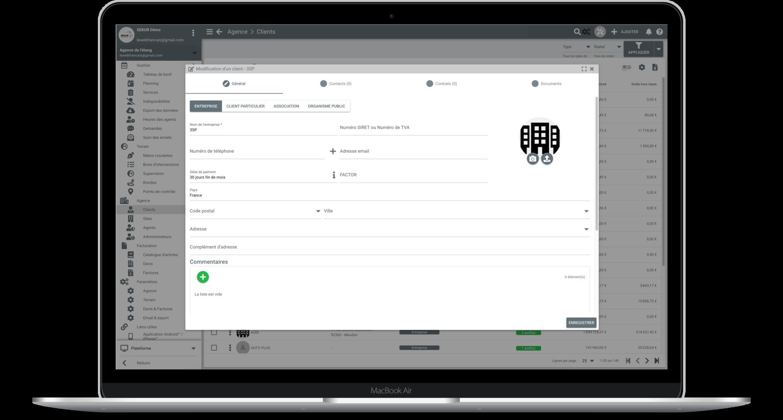 accès client logiciel gestion relation client