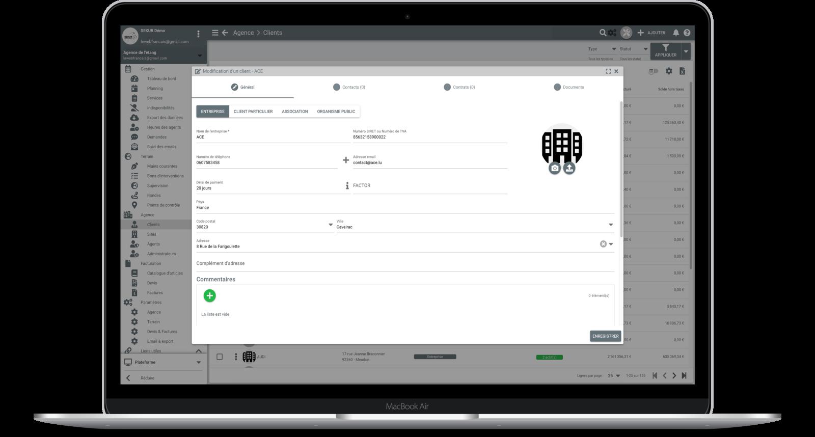 logiciel gestion client société de sécurité privée